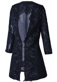 Black Long Sleeve Embroidery Lace Blazer
