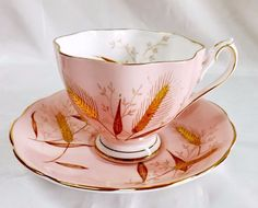 Queen Anne Tea Cup & Saucer 'Pink' Gold Bone China England #TeaCup #QueenAnne