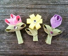 Цветочки из лент. репс