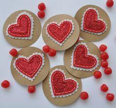 12 Felt Sparkly Valentine Heart Toppers Regular by sewlovetheday, $19.00