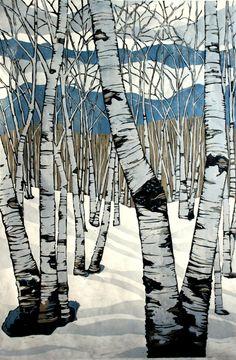 Northern Shadows large relief woodcut von LisaVanMeter auf Etsy, $375.00 (I love this!)