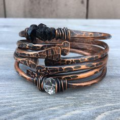Copper Bangle Bracelets /  Raw Gemstone Bracelets Healing Crystal Jewelry Daniellerosebean Copper Bracelets Black Friday Cyber Monday by daniellerosebean on Etsy https://www.etsy.com/listing/198411015/copper-bangle-bracelets-raw-gemstone