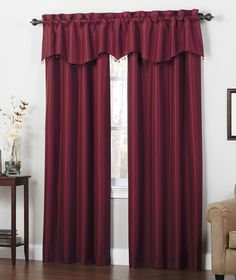 Transform your room into a pleasant haven with our burgundy shimmer window curtains. #AnnasLinens #Curtains #Burgundy
