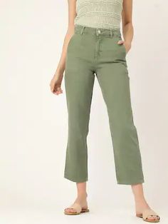 MANGO Women Olive Green Straight Fit Cropped Mid-Rise Clean Look Jeans