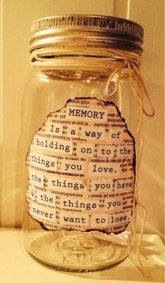 This memory jar holds a collection of written memories of your lost loved one, that your friends and family can look back through and treasure forever. This jar, if small enough can be placed in a memory box as well. Diy Birthday, Birthday Gifts, Womens 50th Birthday Ideas, Funny Birthday, Mason Jar Crafts, Mason Jars, Cute Gifts, Diy Gifts, 365 Jar