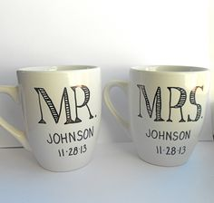 Set of Two Personalized Mr and Mrs Porcelain Mugs Hand Drawn for Wedding or Engagement Gift on Etsy, $28.00