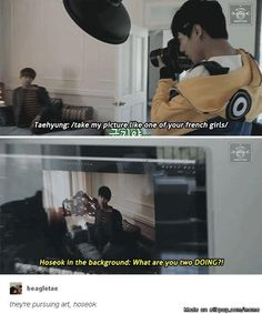 Kookie being the Camera Director, V being Rose and Hoseok doing damage control XD