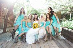 #Bridesmaids #Teal&Yellow #CountryWedding #CowBoyBoots #WhimsicalLightPhotography