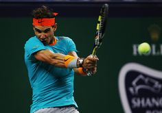 Rafael Nadal of Spain returns a shot during his match against Feliciano Lopez of Spain during the day 4 of the Shanghai Rolex Masters at the Qi Zhong Tennis Center on October 8, 2014 in Shanghai, China