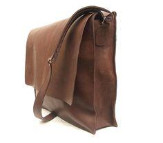 Messenger bag Mens Brown Leather crossbody bag laptop by abizema