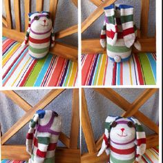 A pair of socks died today and reincarnated into a sock bunny! Instructions from the book titled Socks Appeal.