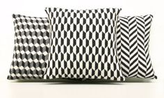 Geometric Pillow Geometric Cushion Monochrome by ArticleApparel, $39.00