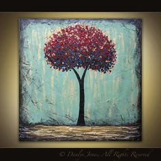 Red Tree Abstract painting original acrylic on canvas 36 x 36 1 Day Sale. $299.99, via Etsy.