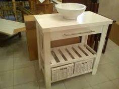 Vanitory rustico de madera reacondicionada reciclada - Como hacer un mueble de bano rustico ...