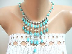 Turquoise Pearl Statement Necklace Teal White Howlite by SanaGem, $88.00