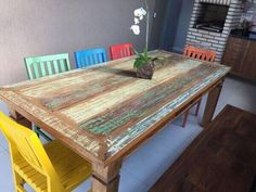Pallet Desk, Outdoor Tables, Outdoor Decor, Wood Projects, Dyi, Decoupage, New Homes, Outdoor Furniture, Painting