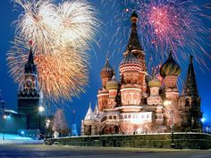 Christmas in Moscow near St Basil Cathedral on Red Square
