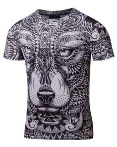 0e5657618 2017 new Compression Shirt listing Men's Wolf Totem printing Fitness T-shirt  Quick-drying short-sleeved Tights Male Crossfit