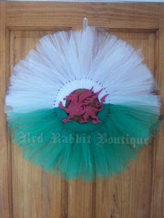 Tutu wreath for St Davids Day by Red Rabbit Boutique St Dwynwens Day, Saint David's Day, Tutu Wreath, Homework Ideas, Wreath Crafts, Welsh, Celebrations, Rabbit, Happiness