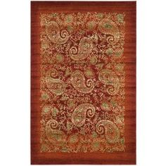 Safavieh�5-ft 3-in x 7-ft 6-in Red Paisley Area Rug, $187.