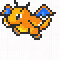 Dragonite Pokemon Sprite Perler Bead Pattern | Bead Sprites | Characters Fuse Bead Patterns