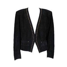 YSL Gold Studded Black Suede Jacket For Sale