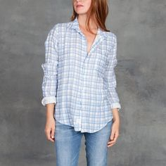 Frank and Eileen Barry Linen Washed Blue Grid
