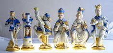 """Limited Edition Cybis Porcelain Chess Set #5/10, with a 7"""" King, circa 1970. The famous Cybis Chessmen, were presented to the USSR by Richard Nixon in 1972."""