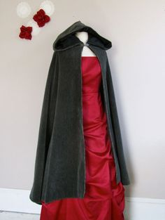 Shadow Grey Hooded Long Cloak by lorigami on Etsy, $135.00