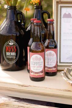 Signature wedding drink idea: Custom beer labels on craft beer. So Cute!