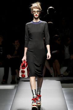 LBD w/ navy blue collar & a chic, below-the-knee hem at Prada S/S 2013 #classic fashion #mfw