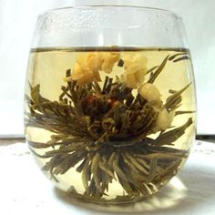 Green Tea is so good for you and these flowering teas are pretty too. Watch them bloom before your eyes. Flower Tea, Teas, Healthy Recipes, Healthy Food, Tea Time, Wine Glass, Tea Cups, Clean Eating, Tees