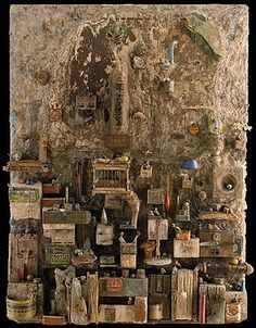 gerard carbon paper ache - found objects collage sculpture rust debris paper sculpture