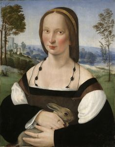 Portrait of a Lady with a Rabbit ca. 1515 Artist: Ridolfo Ghirlandaio, Italian, Florence, 1483?1561 University Purchase from James Jackson Jarves 1871.72 - pins at bodice corners