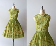 1950s dress / floral 50s dress / Look Lively chiffon by DearGolden, $224.00...   love this dress