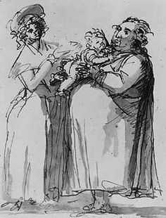 Self portrait with his son Gustaf and common-law wife Anna-Rella Hellstrom by Swedish artist & sculptor Johan Tobias Sergel via From My Balcony Tobias, Statue, Artist, Anna, Working Class, 18th Century, Balcony, Law, Middle