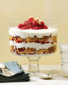 layered yogurt and granola parfait. This is totally what I want to make next time we're having potluck brunch.