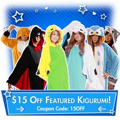 KIGURUMI SHOP SALE: Take $15 off these select kigurumi from Thursday through Monday the 15th!  Just use coupon code 15OFF at http://kigurumi-shop.com/featured-kigurumi.aspx.  :D