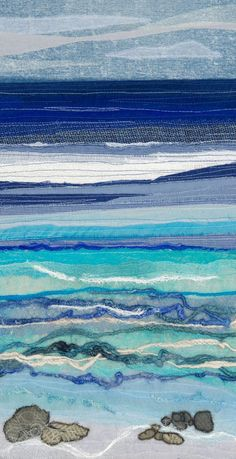 Alison is a Devon based textile artist inspired by the coast and countryside. Freehand Machine Embroidery, Free Motion Embroidery, Embroidery Applique, Ocean Quilt, Beach Quilt, Beach Fabric, Fabric Painting, Fabric Art, Fabric Wall Hangings
