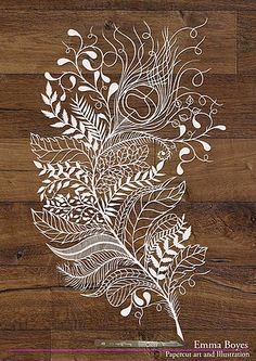 Emma Boyes paper-cut art and illustration. See the breathtaking work of 11 paper artists! Feather Drawing, Feather Art, Kirigami, Papercut Art, Paper Cutting Patterns, Paper Cutting Art, Cut Paper, Cut Out Art, Poster Design