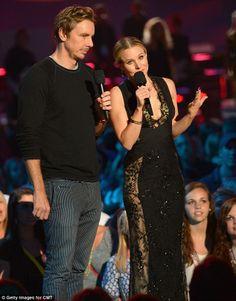 Presentable couple: Dax Shepherd and Kristen Bell spoke onstage at the Bridgestone Arena...