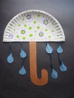 This is an adorable craft for our rainy springtime weather!  I even think that a solid-colored umbrella would look adorable, as well as a little glitter on the rain drops. :)