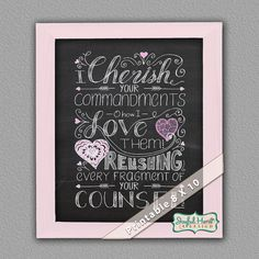 Chalkboard sign with Scripture Hand Lettering by JoyfulHeartDesign
