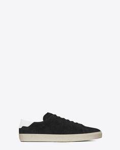 f8daf69d8432 Saint Laurent Sneaker COURT CLASSIC SL 06 En Suède Noir Et En Cuir Blanc  Cassé