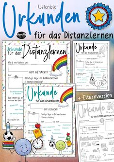 Vorschau - Arbeitsblätter - Urkunde Distanzlernen / Homeschooling - Schüler & Eltern - Deckblatt Sketch Note, Motivation, Homeschooling, Bullet Journal, Distance Education Courses, Media Literacy, Home Economics, Pictorial Maps