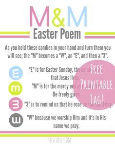 M&M Easter Poem - free printable tags ldslane.com