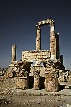 The Roman Temple of Hércules -- Citadel Hill, which sits in the middle of downtown Amman, Jordan by Marcos Gonzalez