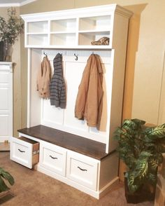 Mud bench, Locker unit, hall tree, shoe bench made from hardwood by GriffinFurniture on Etsy