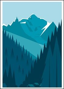 Chamonix morning by Charlie Adam : Bungalow Graphics, buy Art Prints & Laminates, Winter Art online - Bungalow - Limited Edition Graphics Art And Illustration, Mountain Illustration, Mountain Designs, Mountain Art, Mountain Range, Inspiration Art, Art Inspo, Polygon Art, Affinity Designer