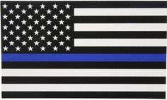 Thin Blue Line Flag Decal - 3x5 in. Black White and Blue American Flag Sticke...